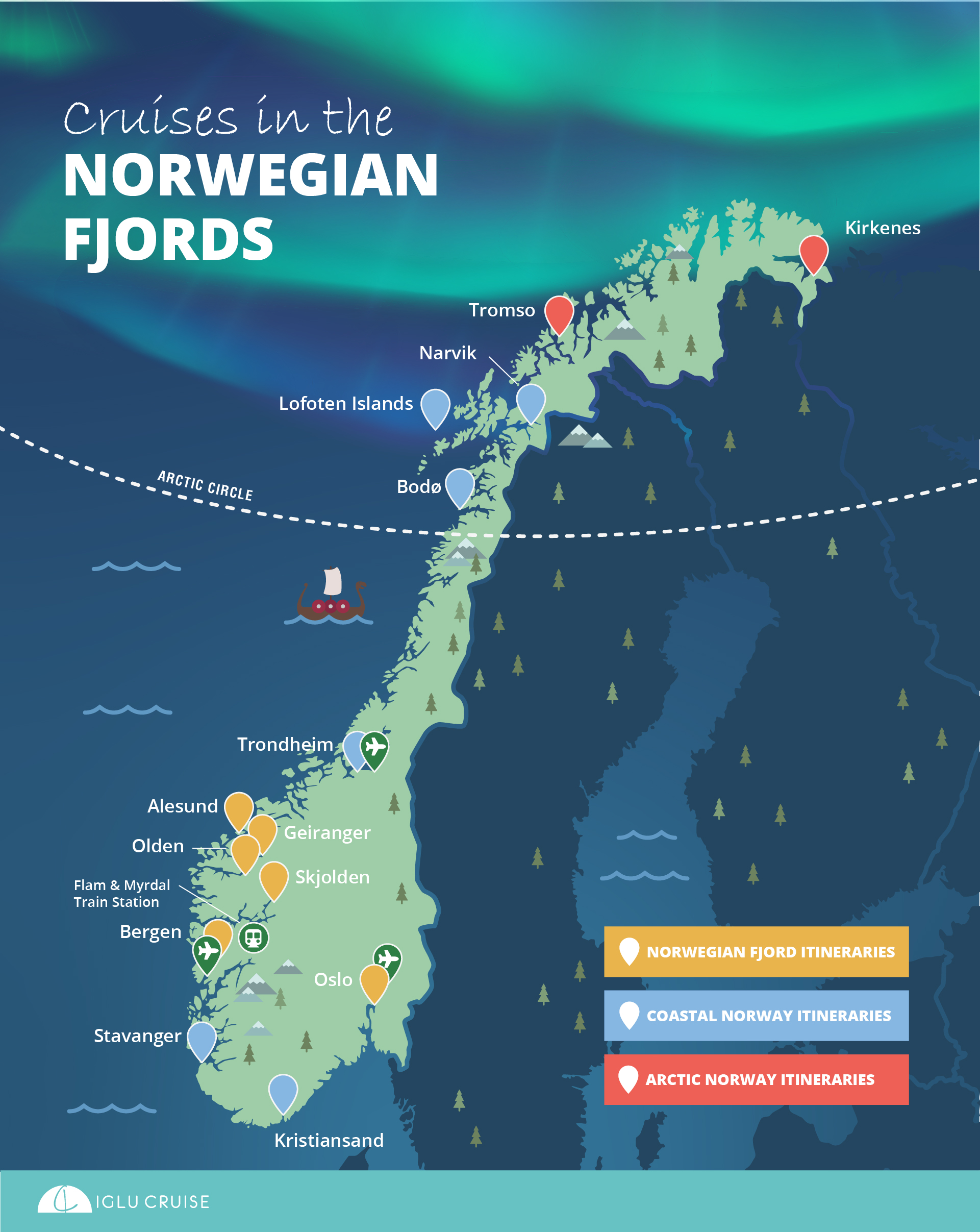 Norwegian Fjords cruise ports map